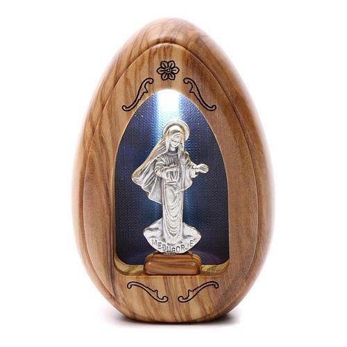 Lumino in legno d'olivo Madonna di Medjugorje con led 10X7 cm 1