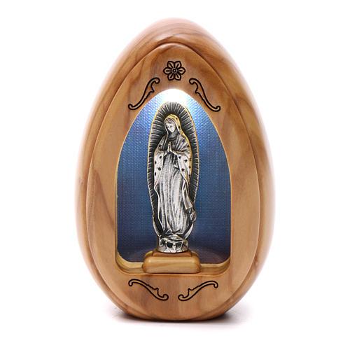Photophore en bois d'olivier Notre-Dame de Guadeloupe avec led 10x7 cm 1