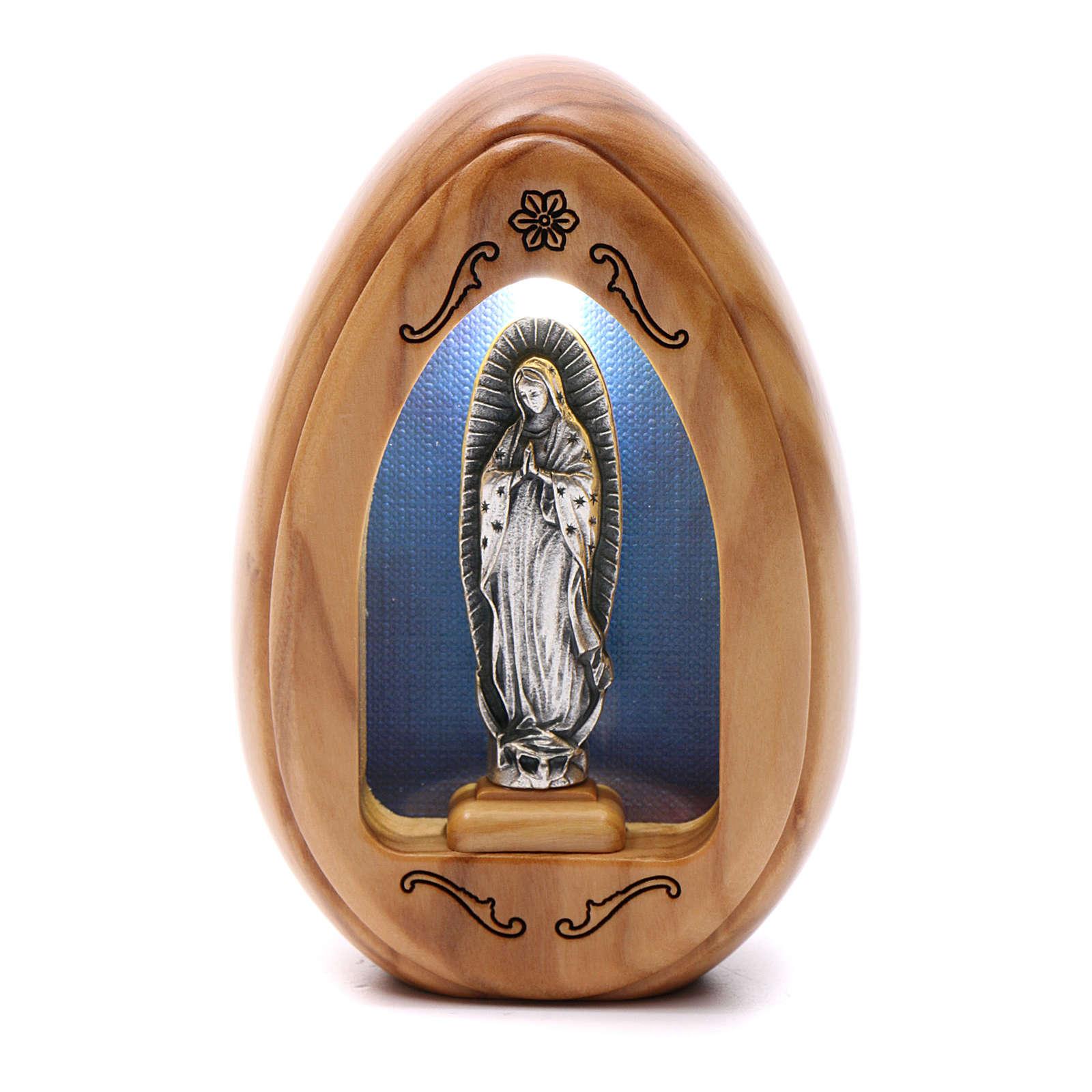 Lumino in legno d'olivo Madonna della Guadalupe con led 10X7 cm 3