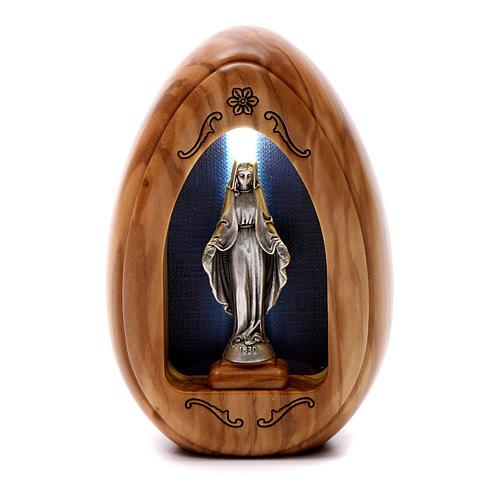 Lamparilla de madera de olivo Virgen Milagrosa con led 10x7 cm 1