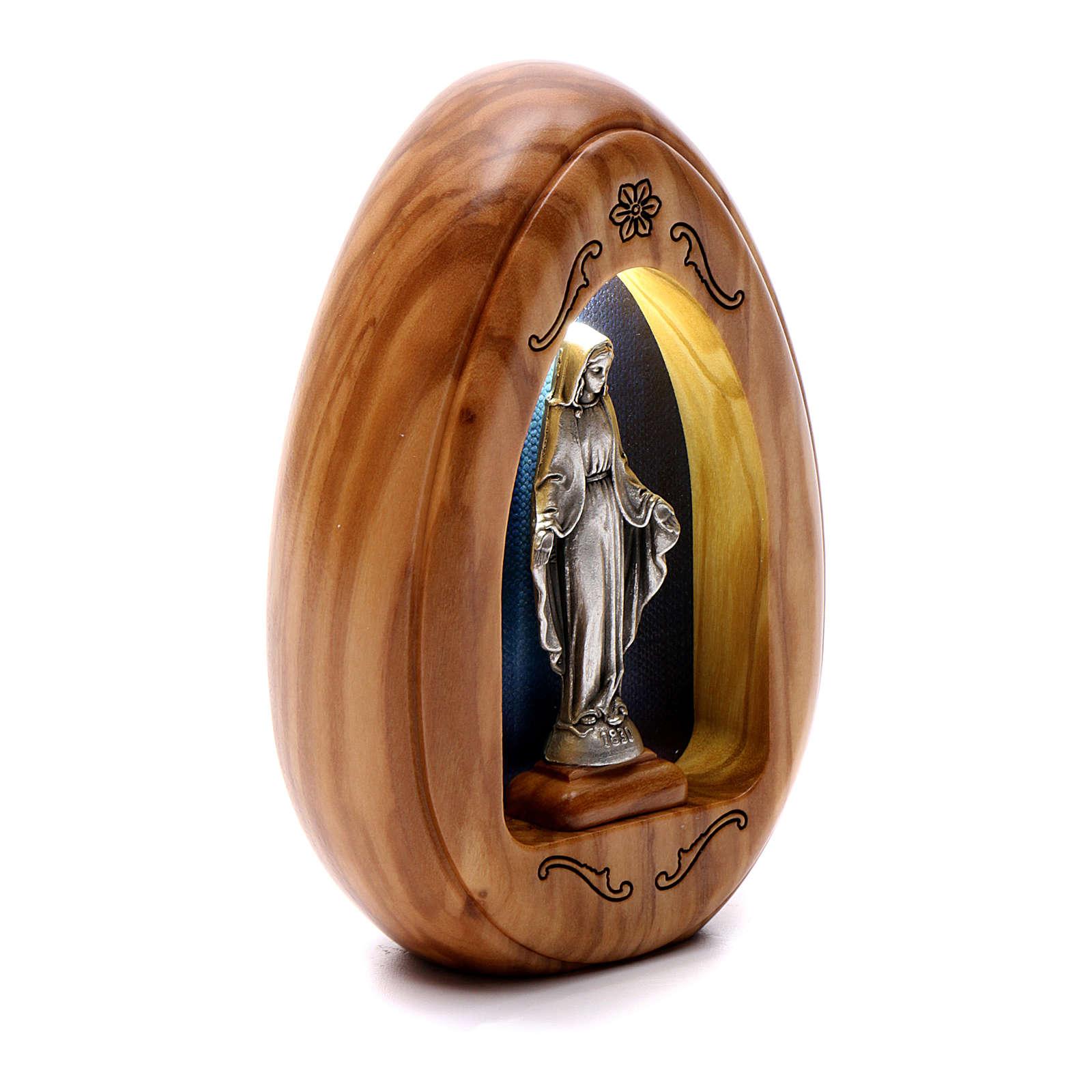 Lumino in legno d'olivo Madonna Miracolosa con led 10X7 cm 3