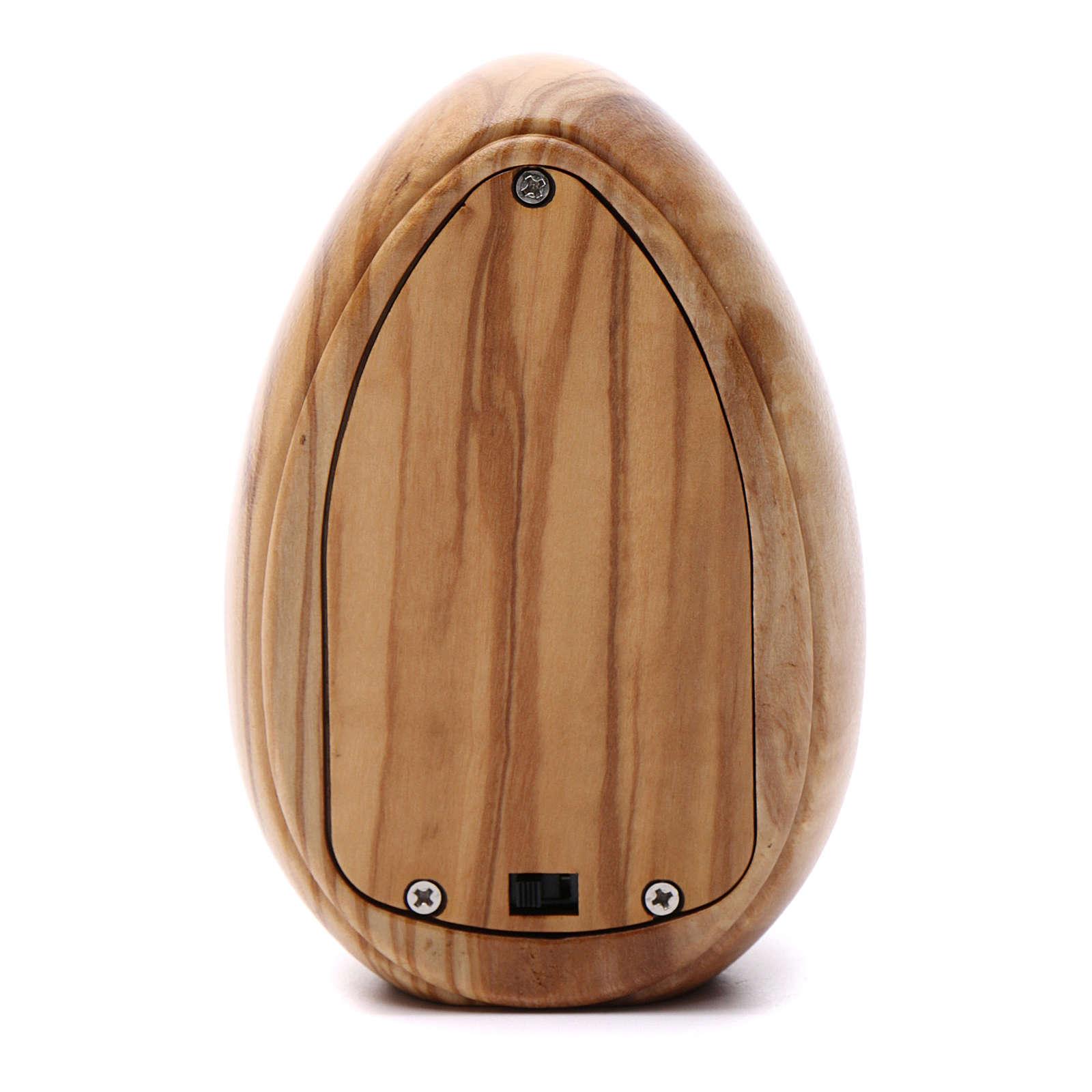 Lumino in legno d'olivo Sacra Famiglia con led 10X7 cm 3