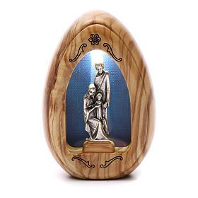 Lumino in legno d'olivo Sacra Famiglia con led 10X7 cm s1