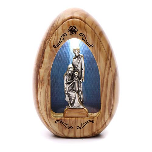 Lumino in legno d'olivo Sacra Famiglia con led 10X7 cm 1