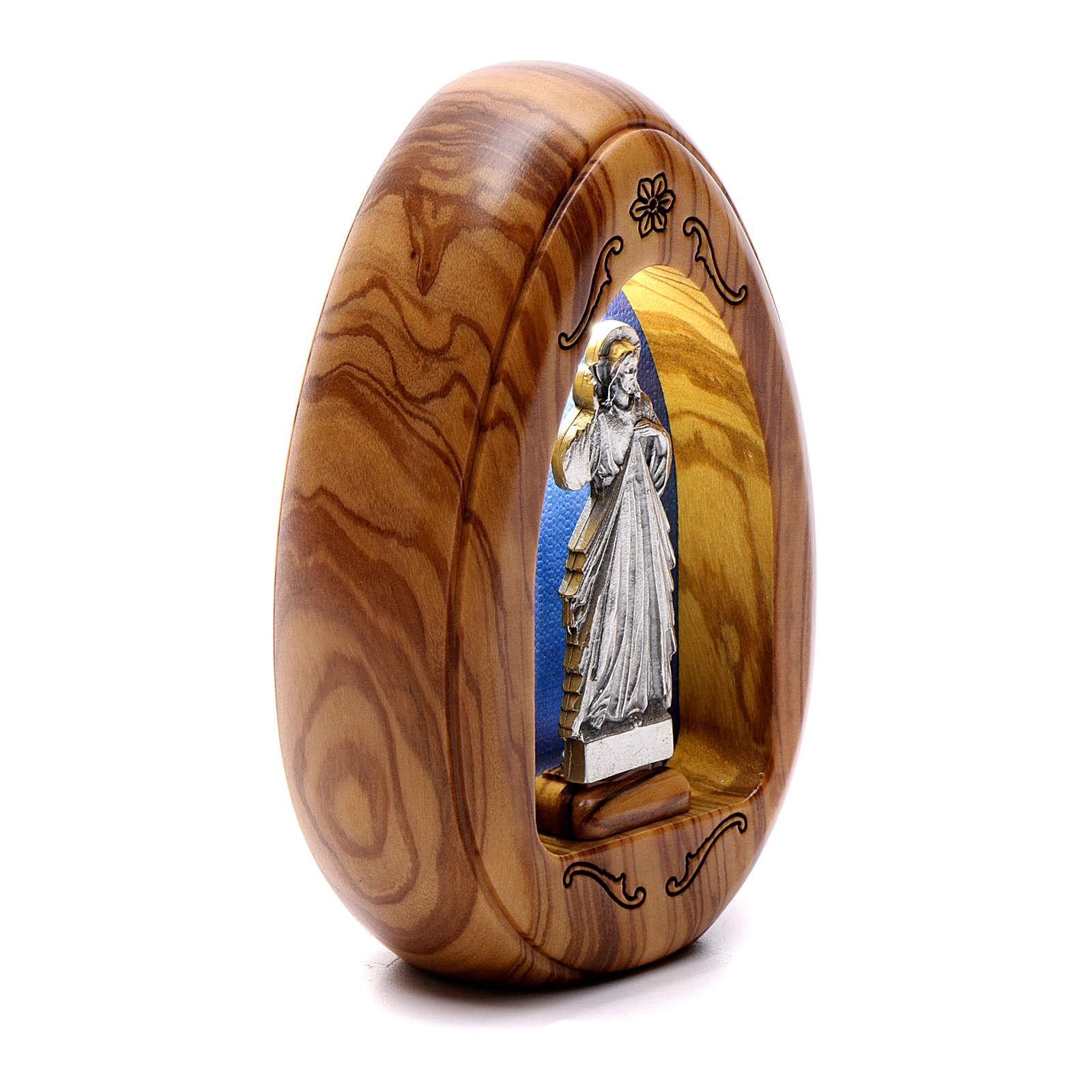 Lamparilla de madera de olivo Jesús Misericordioso con led 10x7 cm 3
