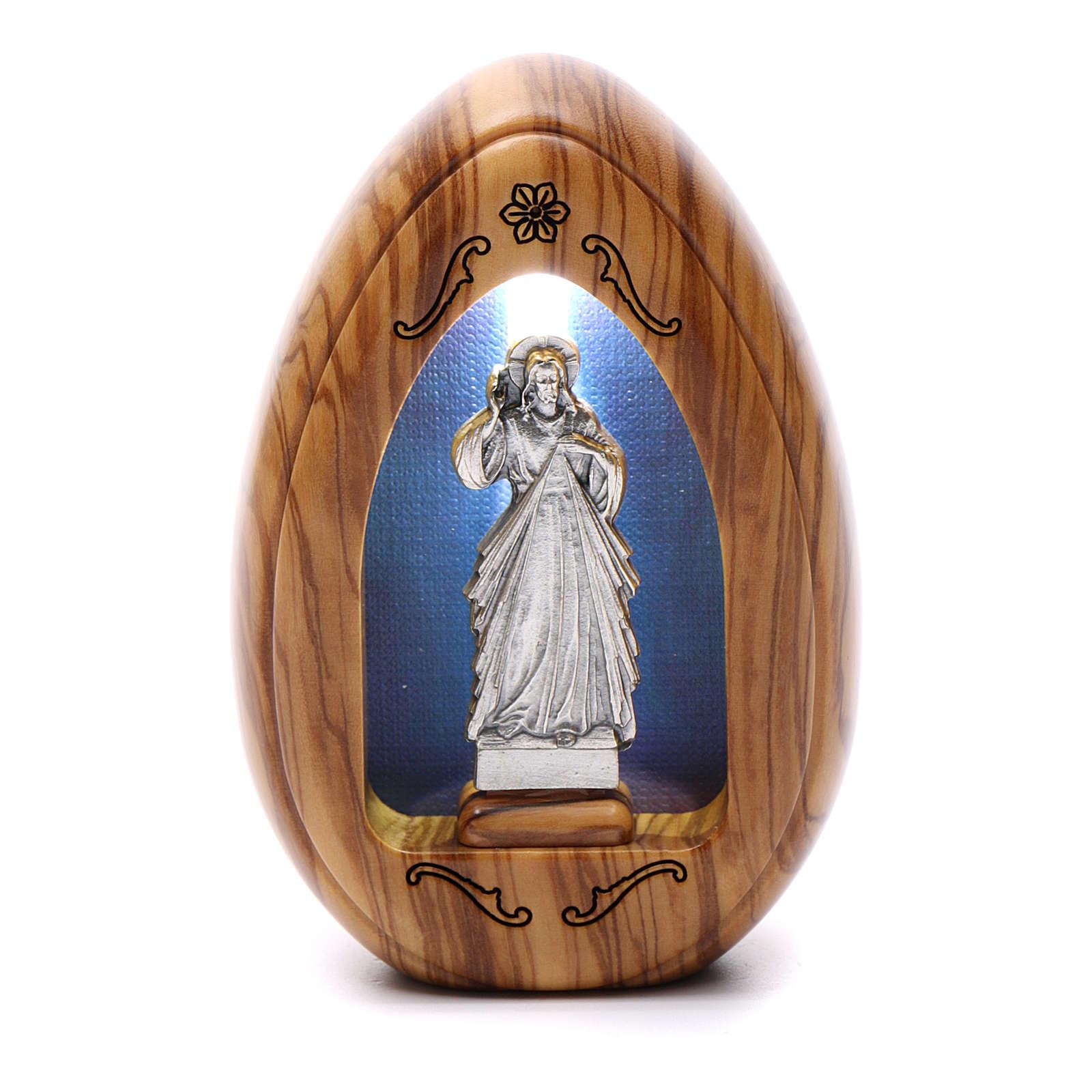 Lumino in legno d'olivo Gesù Misericordioso con led 10X7 cm 3