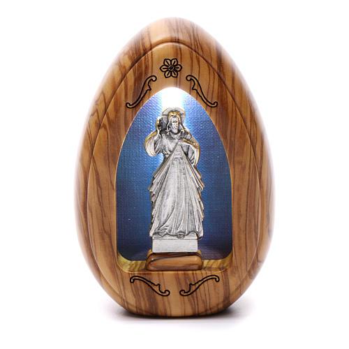 Lumino in legno d'olivo Gesù Misericordioso con led 10X7 cm 1