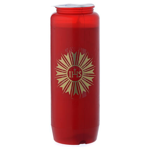 Sanctuary candle in red PVC with IHS symbol - 6 days 2