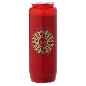 Cierge pour Saint Sacrement IHS rouge 6 jours s2