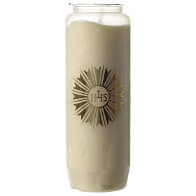 Sanctuary candle in white PVC with IHS symbol - 6 days s1