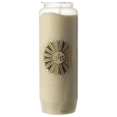 Sanctuary candle in white PVC with IHS symbol - 6 days 1