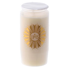 Sanctuary candle in white PVC with IHS - 2 days s1