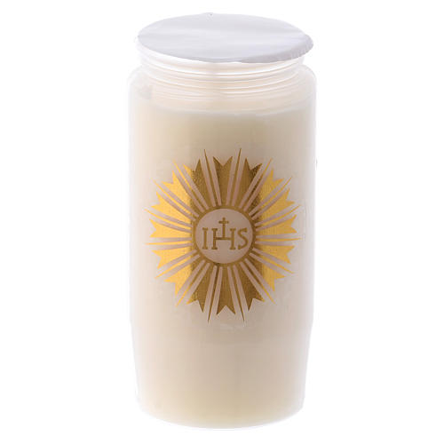 Sanctuary candle in white PVC with IHS - 2 days 1