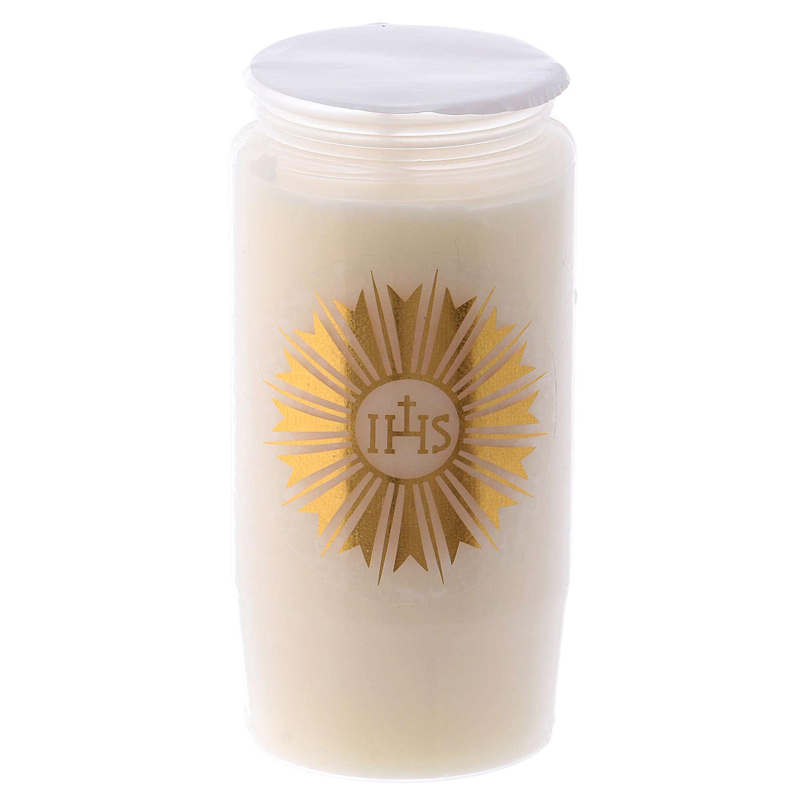 Cierge pour Saint Sacrement IHS blanc 2 jours 3