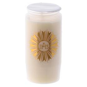 Bougies, cierges, chandelles: Cierge pour Saint Sacrement IHS blanc 2 jours