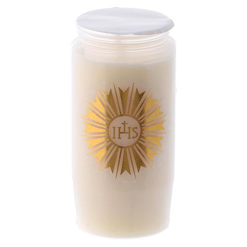Cierge pour Saint Sacrement IHS blanc 2 jours 1