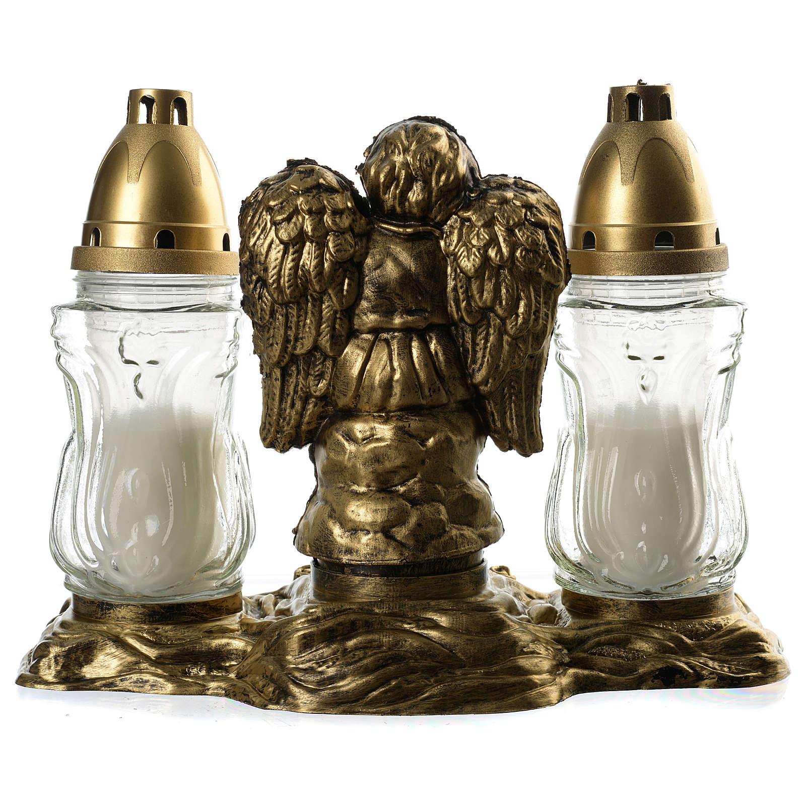 Grablicht mit zwei weißen Lichtern und Engel 3