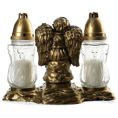 Znicze lampiony nagrobne dwa wkłady białe Anioł 4