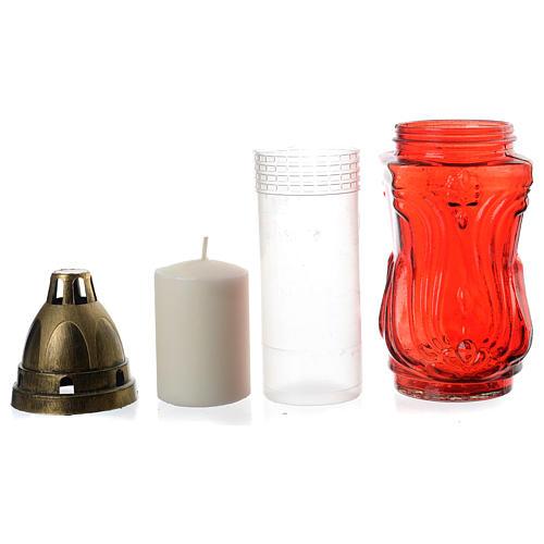Porta-vela duas velas votivas vermelhas e Anjo 3