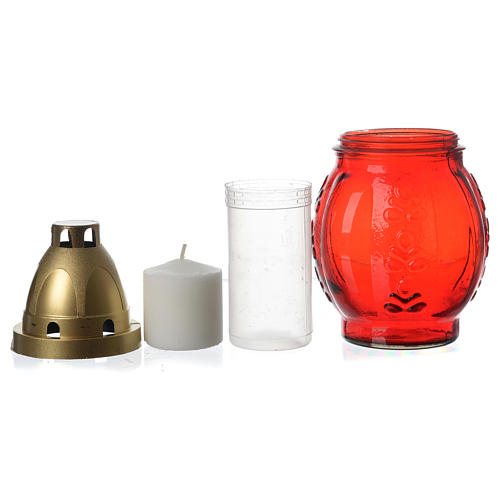 Votive candle holder with golden Angel red colour 3