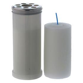 Lampe votive blanche T40 avec cire blanche s2