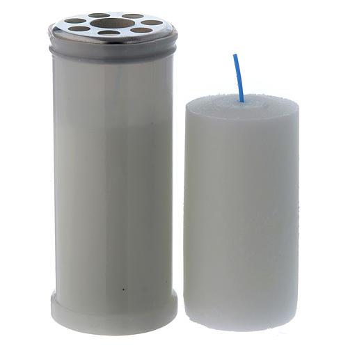 Lampe votive blanche T40 avec cire blanche 2