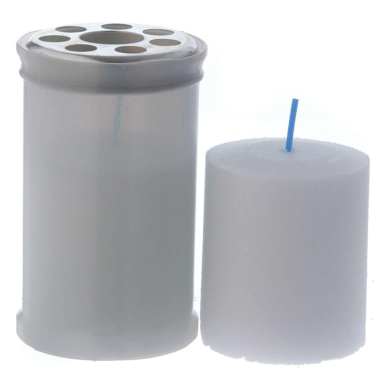 Lamparilla votiva color blanco T30 cera blanca 3