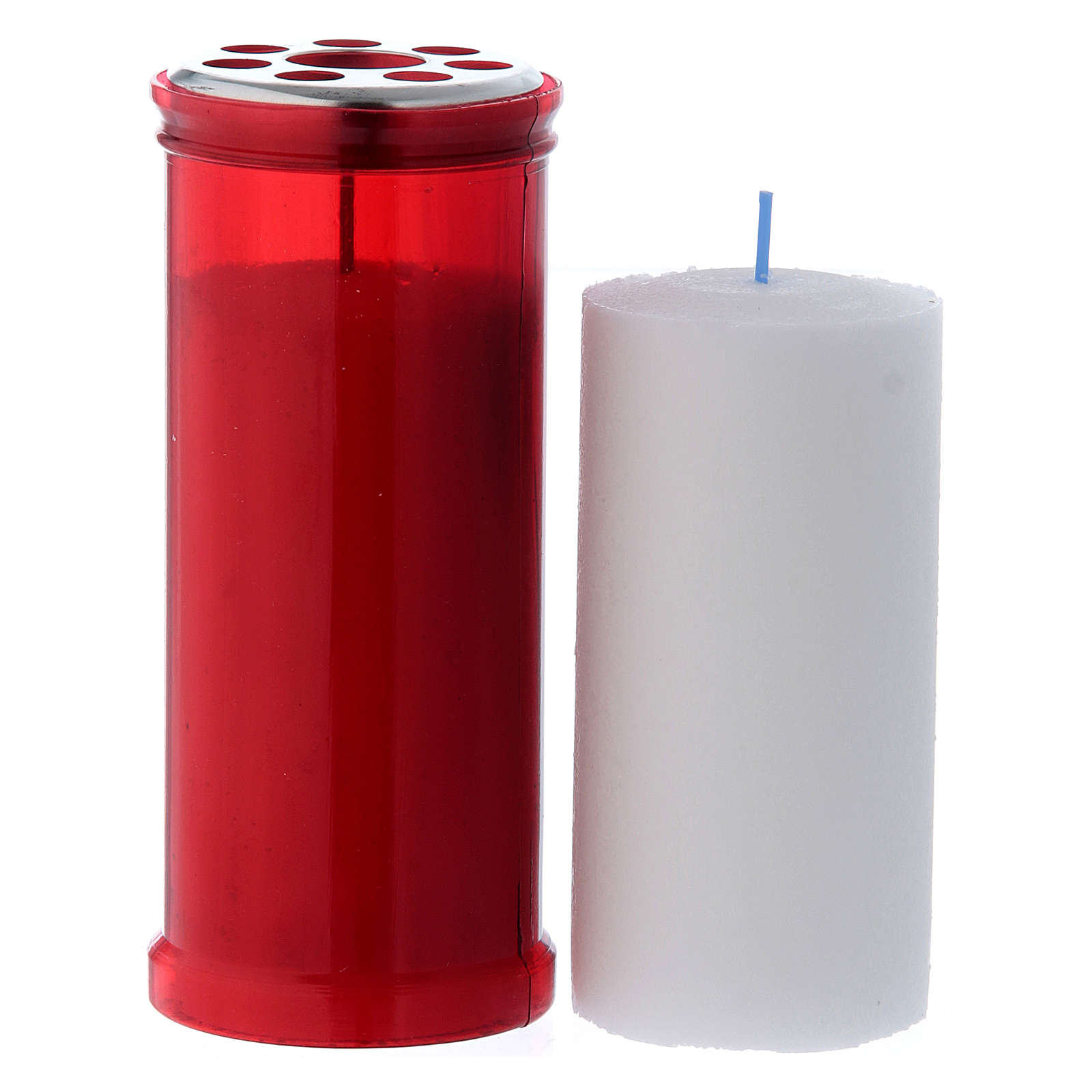 T40 red votive candle with white wax 3