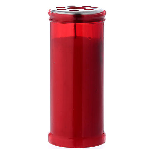 T40 red votive candle with white wax 1