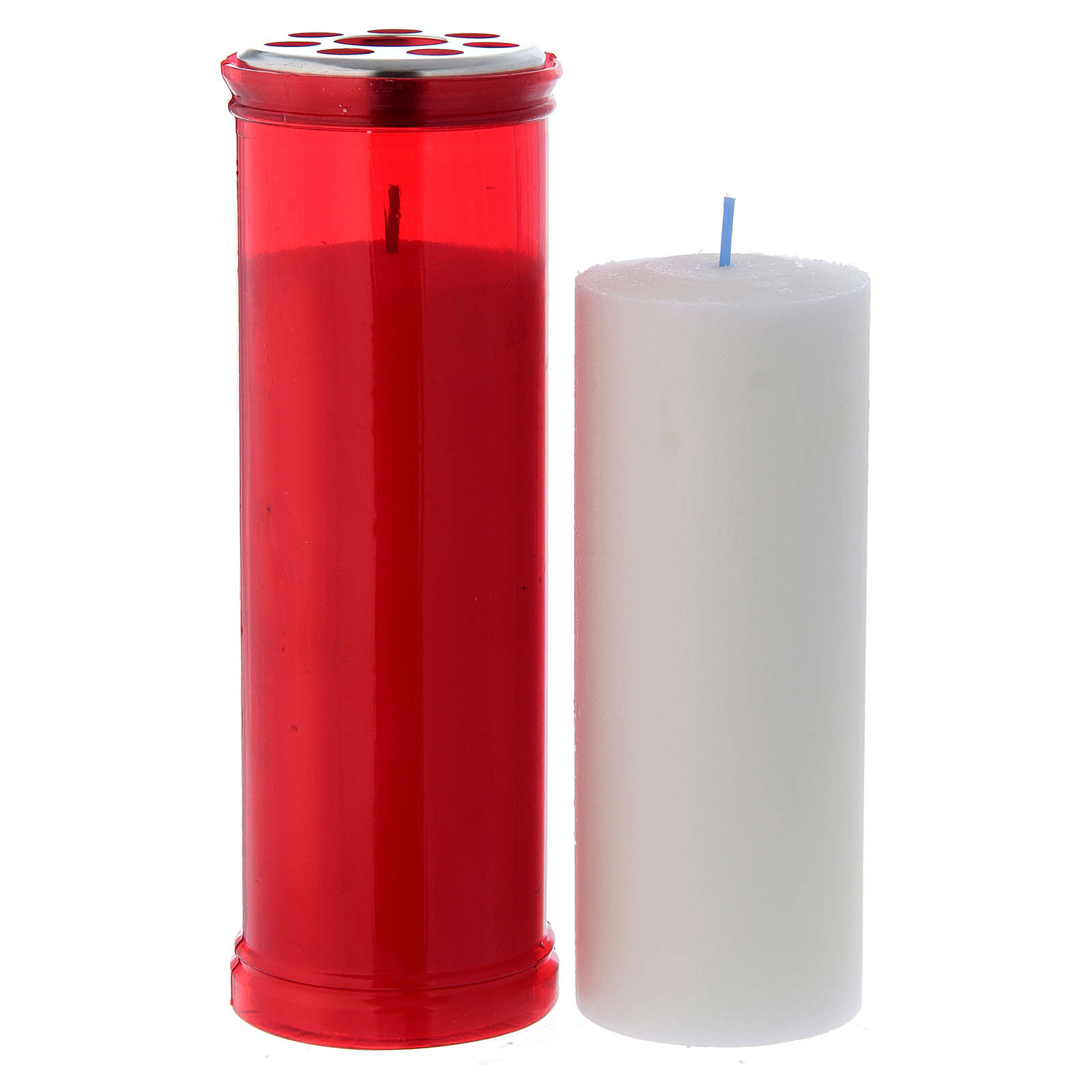 T50 red votive candle with white wax 3