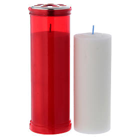 T50 red votive candle with white wax s2