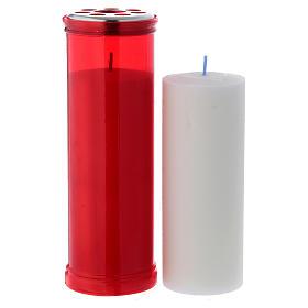 Vela votiva cor vermelha T50 com cera branca s2