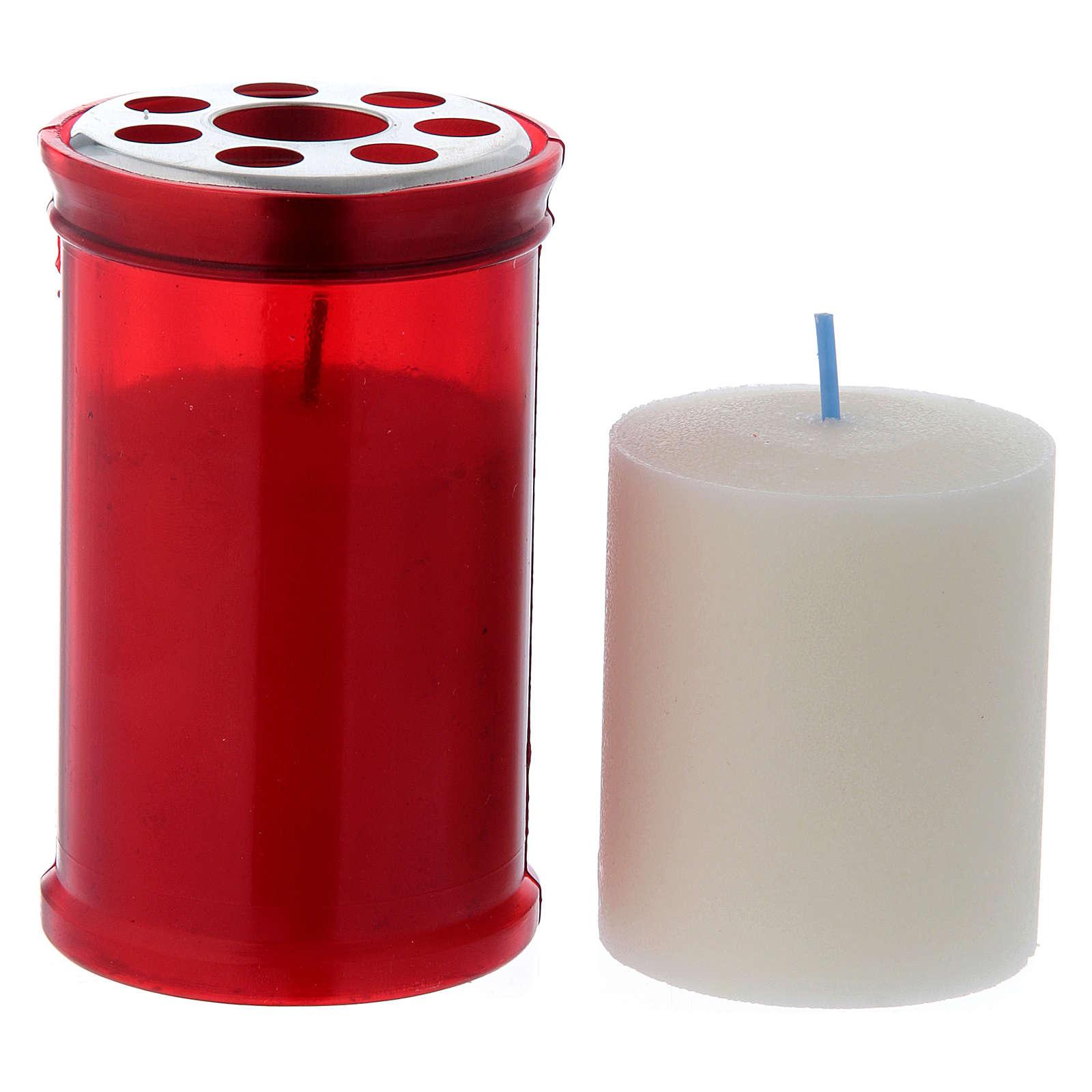 Lamparilla votiva roja T30 con de cera blanca 3