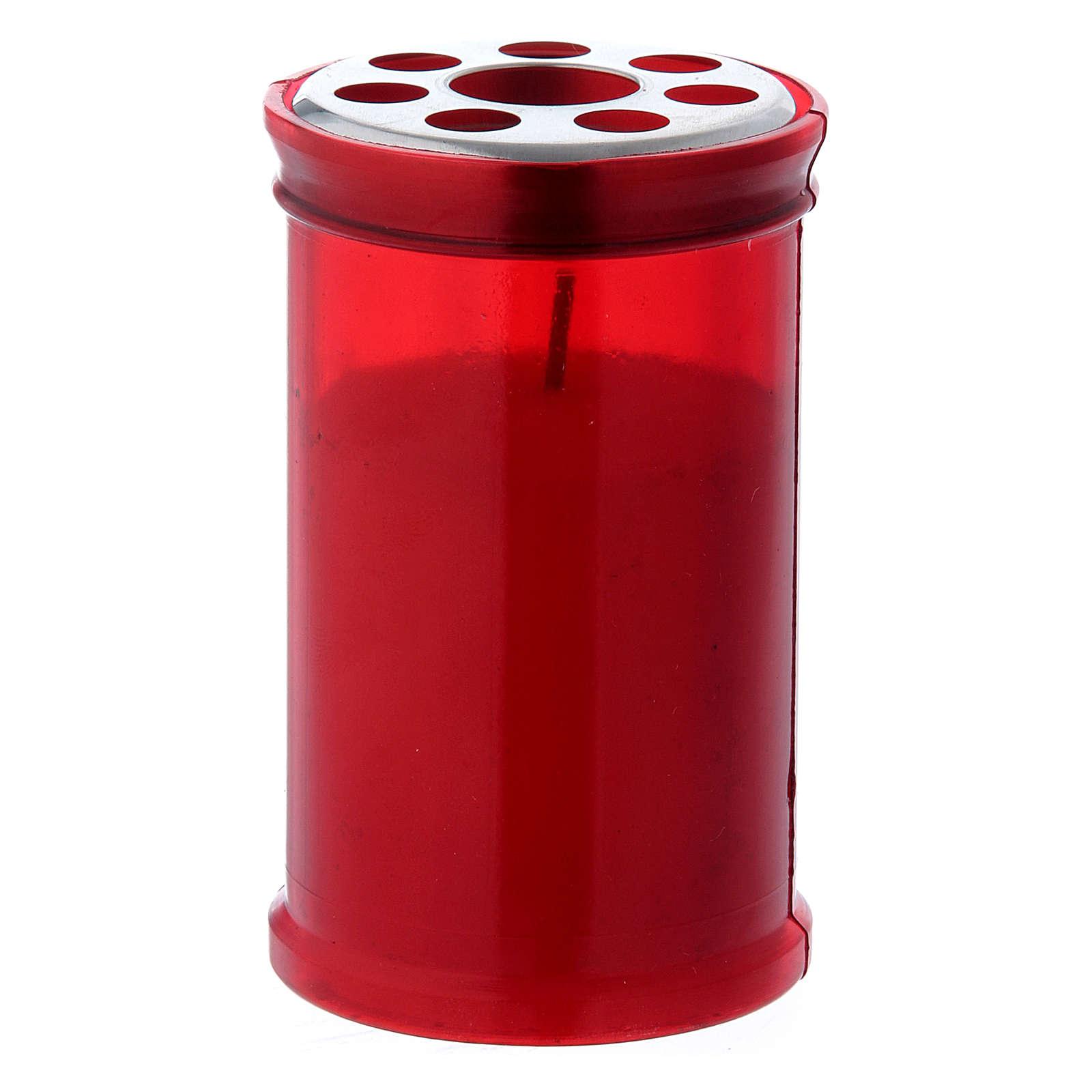 Lumino votivo rosso T30 in cera bianca 3