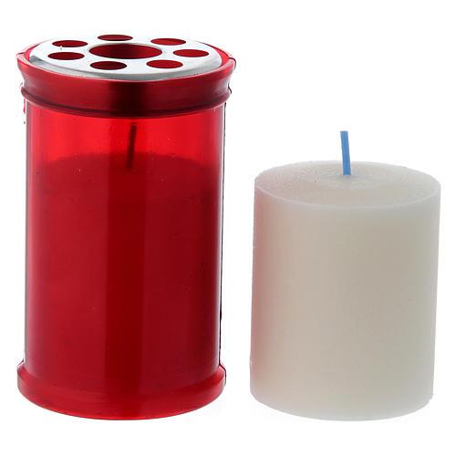 Lumino votivo rosso T30 in cera bianca 2