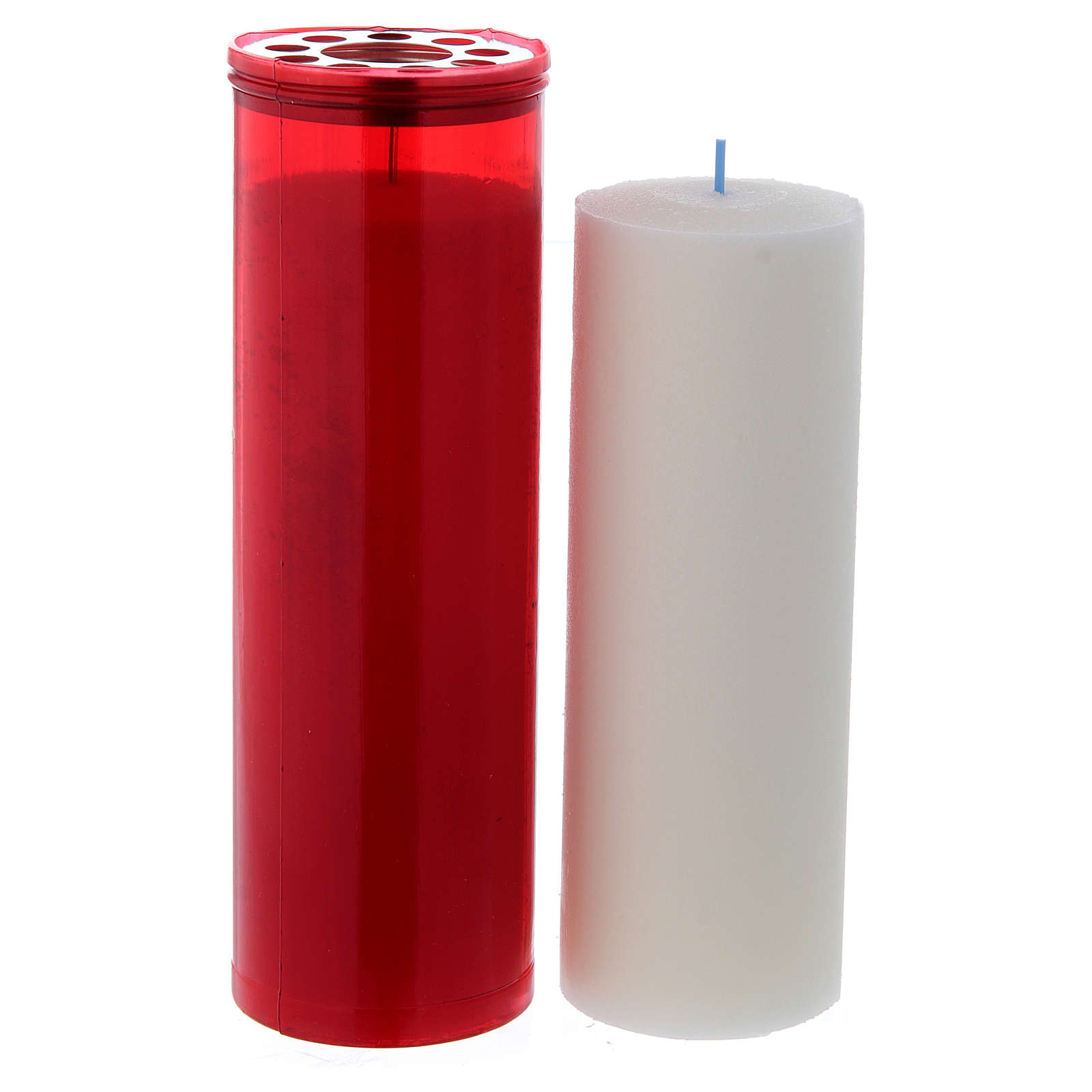 T60 red votive candle with white wax 3