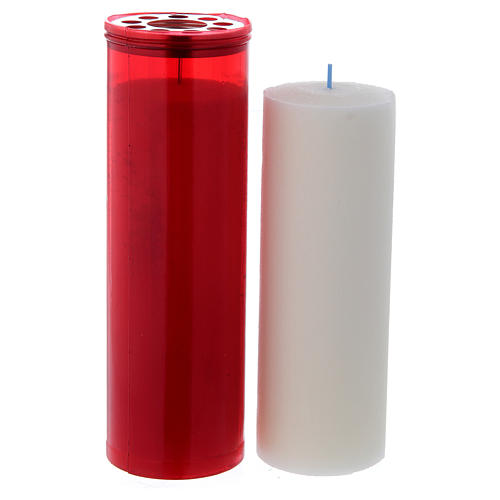 T60 red votive candle with white wax 2