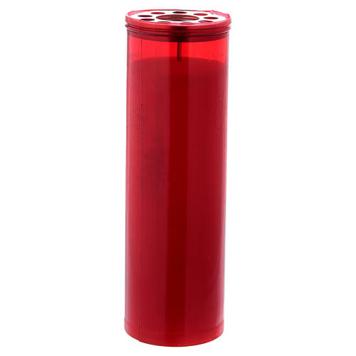 Lampe votive couleur rouge T60 avec cire blanche 1