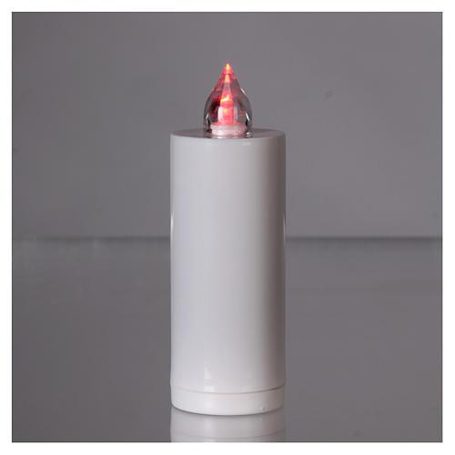 Einweg-Grablicht Lumada weiss mit roten intermittierenden Licht 2