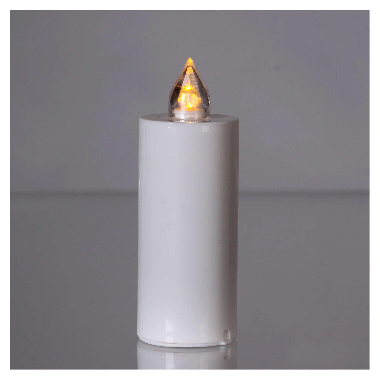 Candela Lumada bianca con luce gialla fiamma reale 3