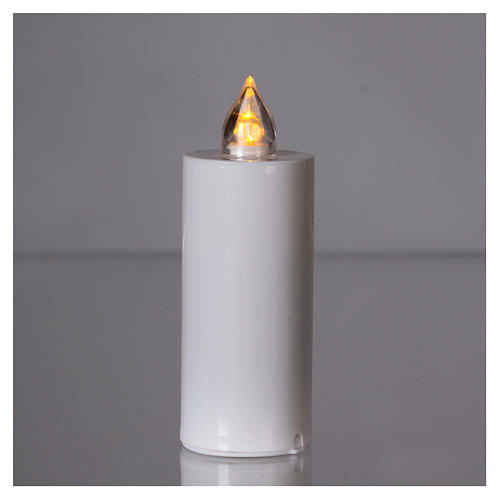 Candela Lumada bianca con luce gialla fiamma reale 2