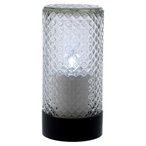 Lumada electric candle in glass with white flickering light 1