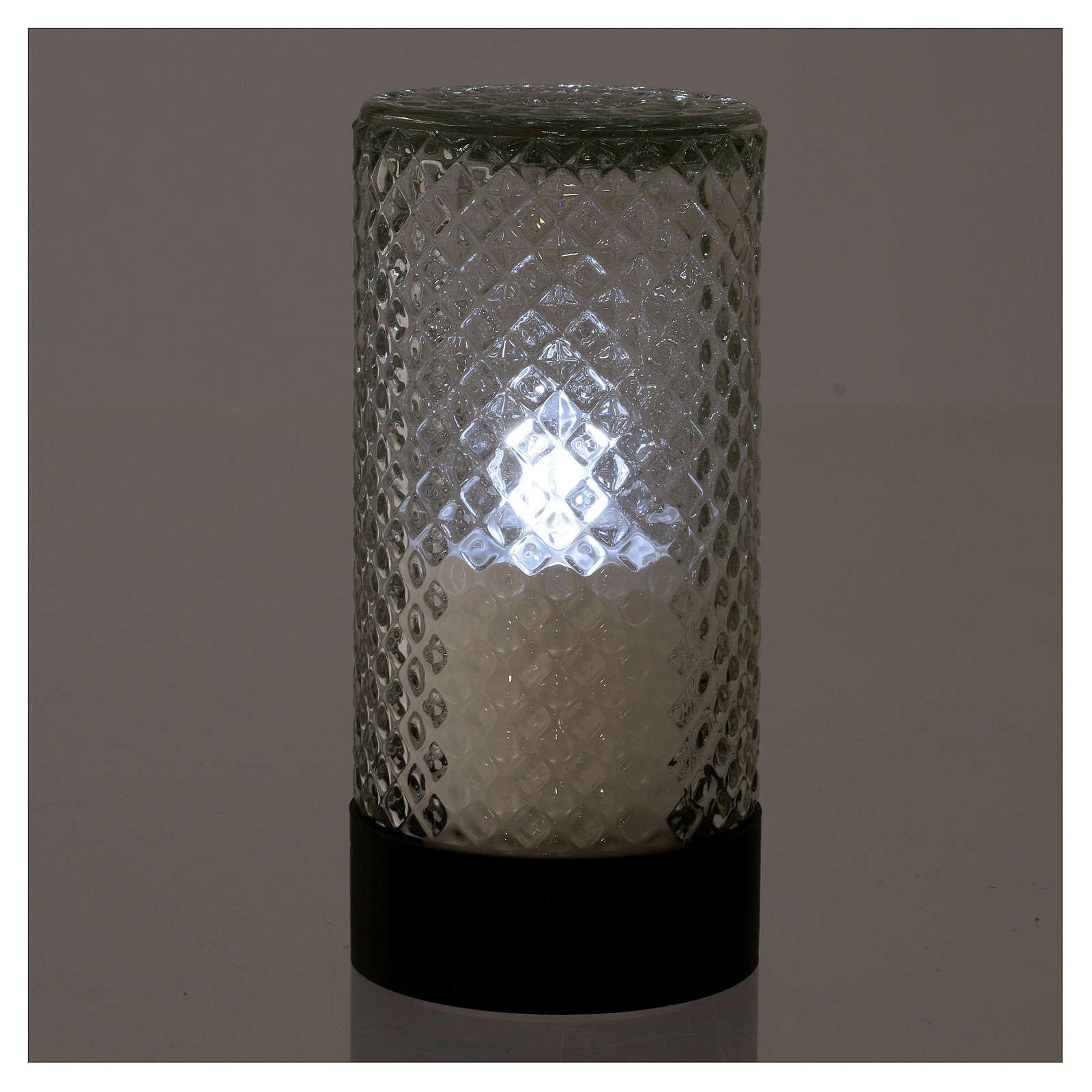 Vela Votiva Lumada Base Preta Luz Branca efeito chama 3