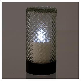 Vela Votiva Lumada Base Preta Luz Branca efeito chama s2