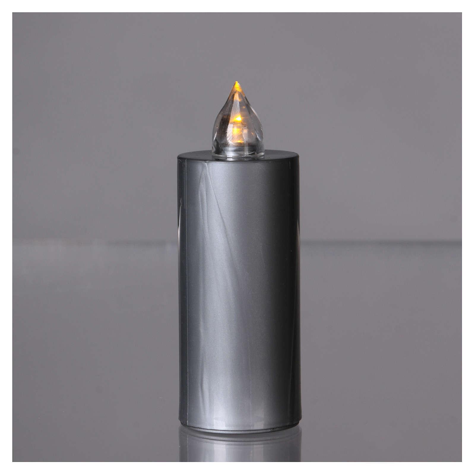 Znicz wotywny Lumada srebrny światło żółte migające 3