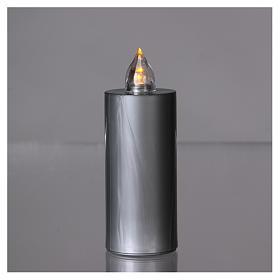 Znicz wotywny Lumada srebrny światło żółte migające s2