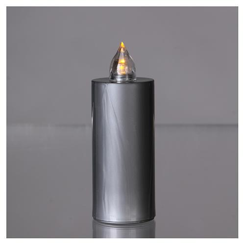 Znicz wotywny Lumada srebrny światło żółte migające 2