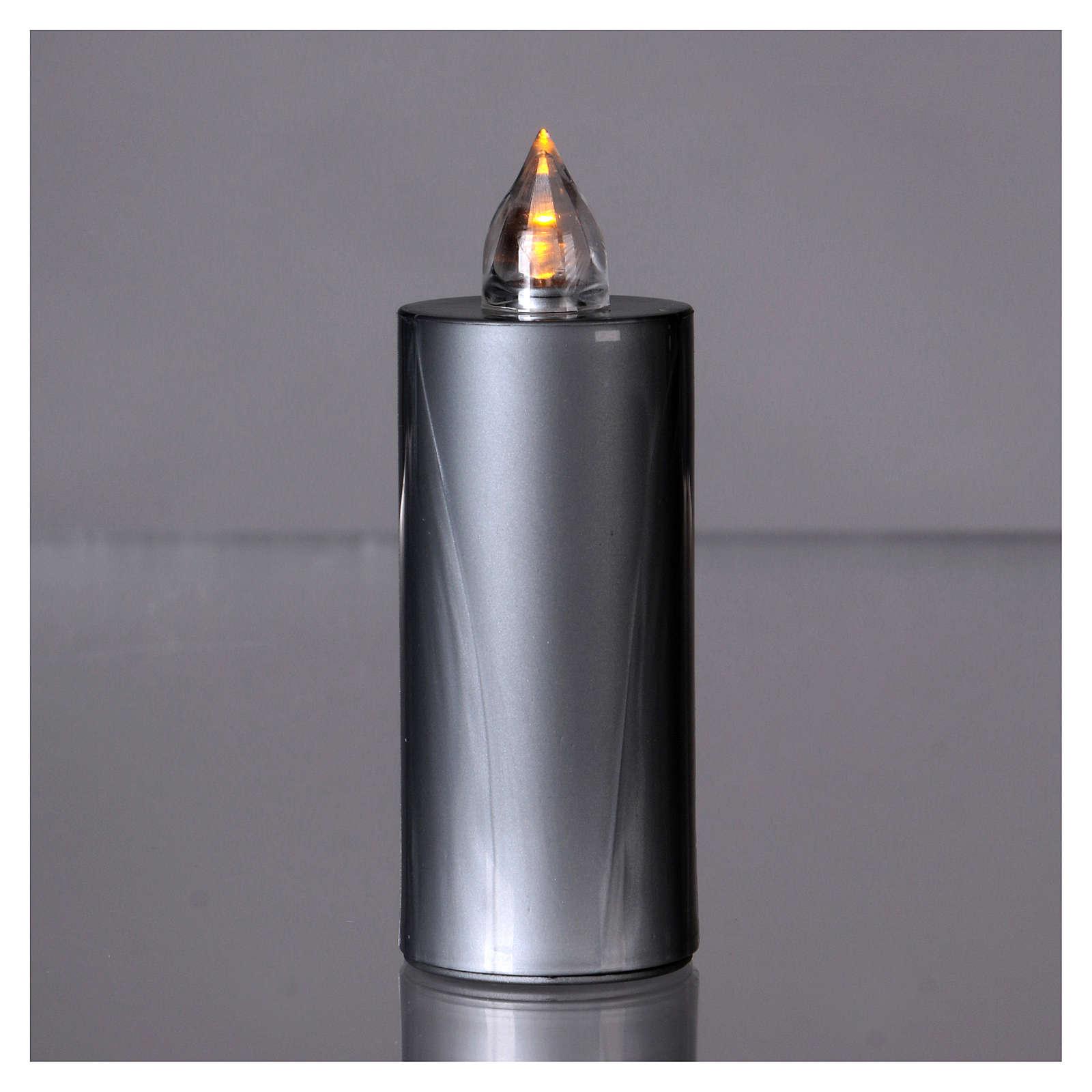 Candela votiva Lumada luce gialla fissa usa e getta argento  3