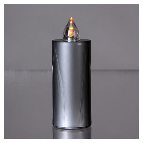 Candela votiva Lumada luce gialla fissa usa e getta argento  2