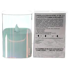 Candela cera vetro quadrata iridescente 12 cm fiamma movimento s3